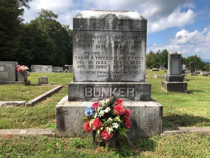 The grave of Eng and Chang Bunker in Mt. Airy.