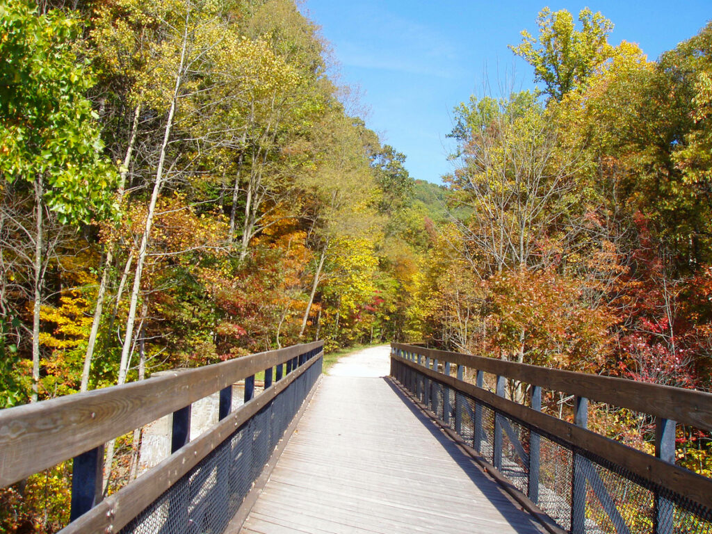 The Great Allegheny Passage through the Laurel Highlands of Pennsylvania.