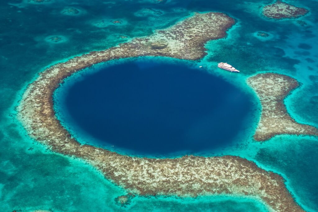 The Great Blue Hole at the Belize Barrier Reef.