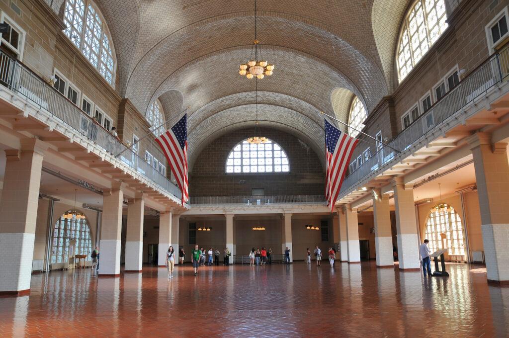 The Great Hall on Ellis Island.