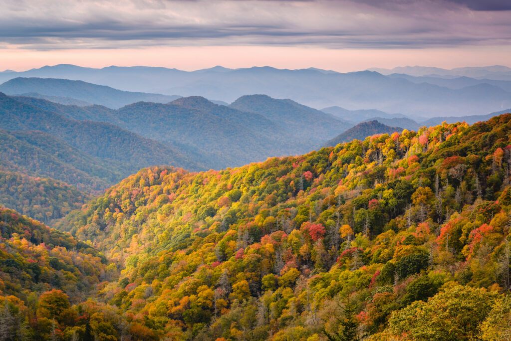 The Great Smoky Mountains in Tennessee.