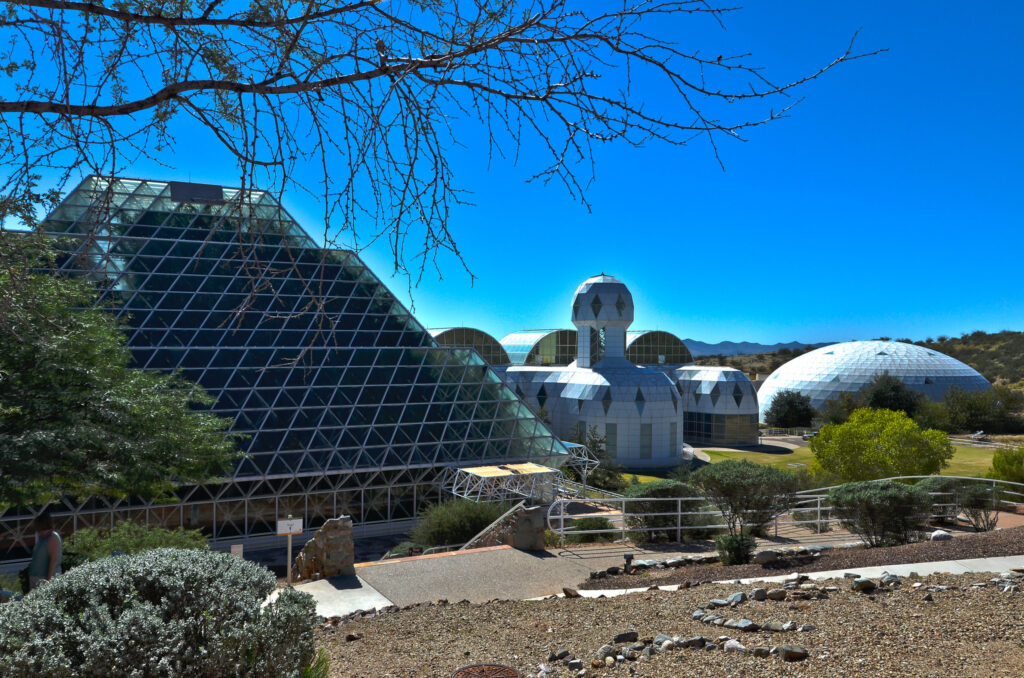 The grounds of Biosphere 2 in Arizona