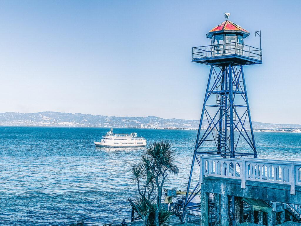 The guard tower on Alcatraz Island.