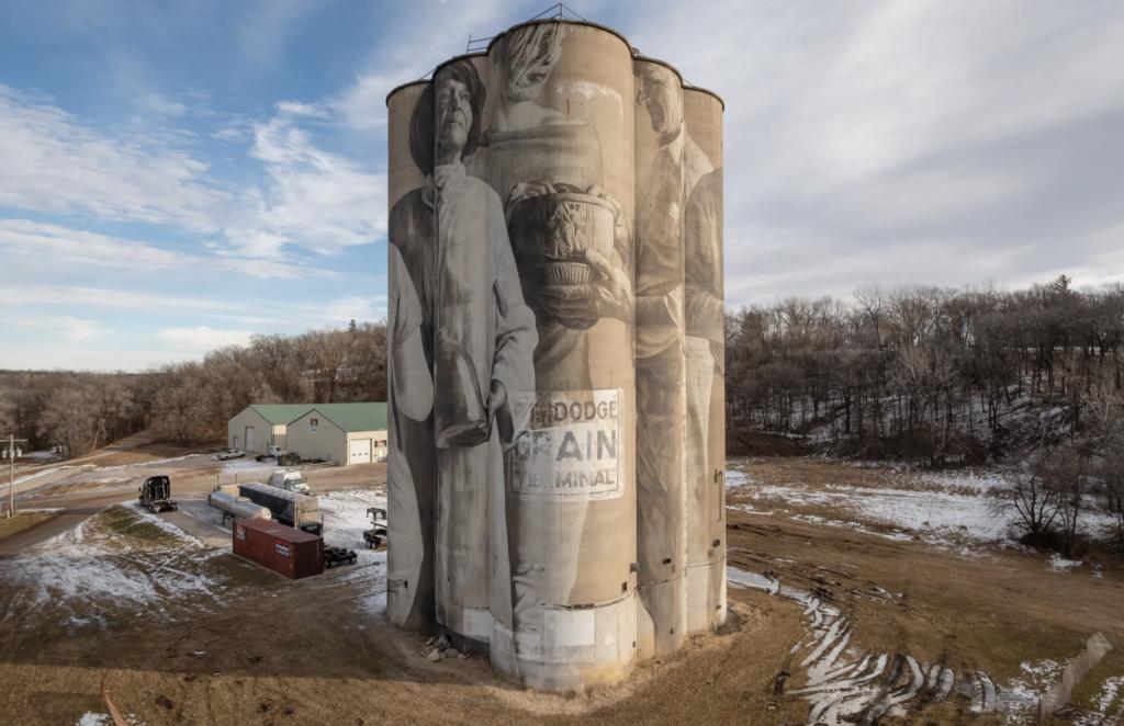 The Guido van Helten silo mural in Fort Dodge, Iowa.