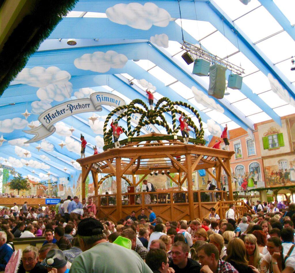 The Hacker-Pschorr tent at Oktoberfest.