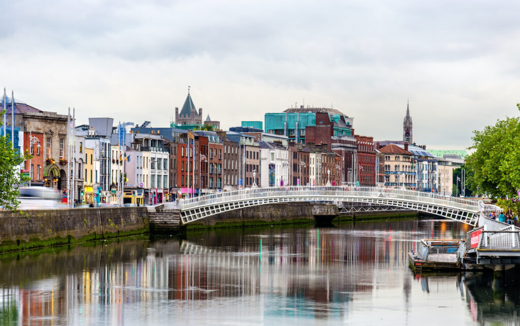 The Hapenny Bridge in Dublin, Ireland.