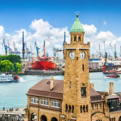 The harbor in Hamburg, Germany.