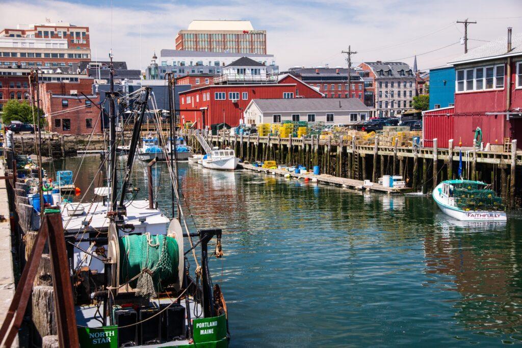 The harbor in Portland, Maine.