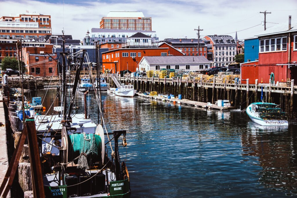 The harbor in Portland, Maine