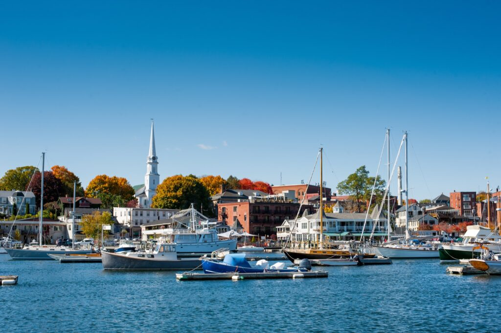 The harbor of Camden, Maine.