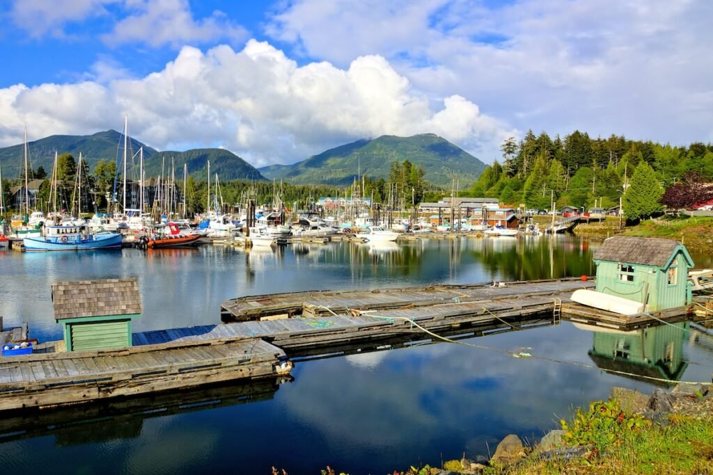 The harbor of Ucluelet in British Columbia, Canada.
