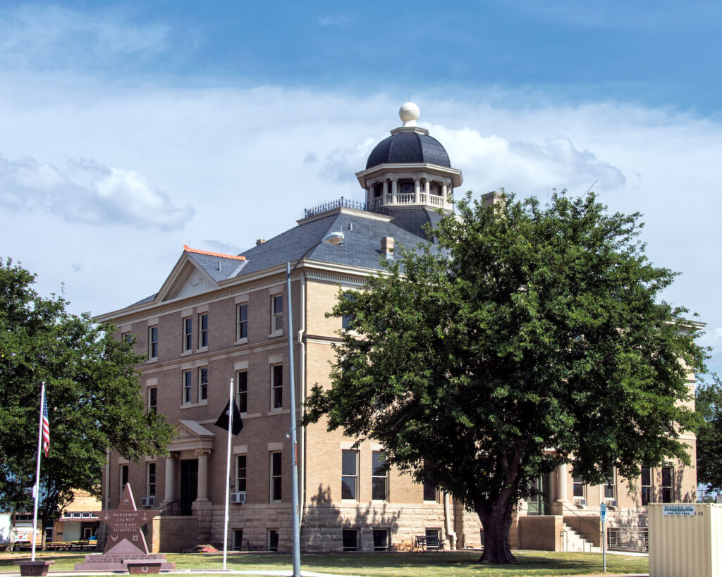 The Hardeman County Courthouse in Quanah.