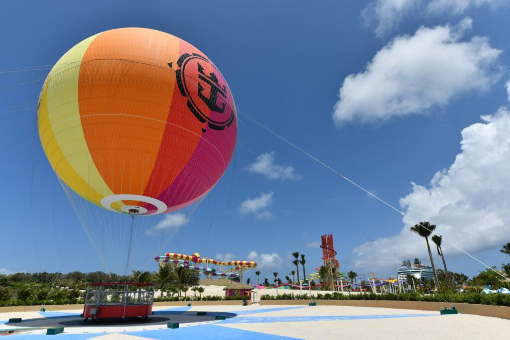 The helium balloon over CocoCay.