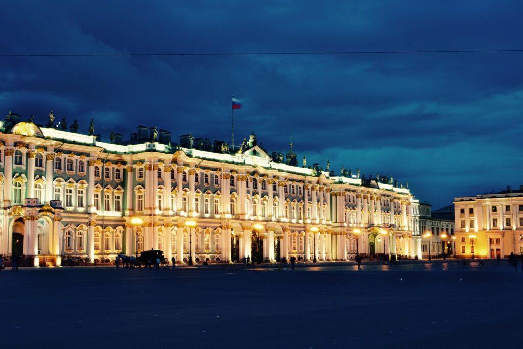 The Hermitage, St. Petersburg, illuminated.