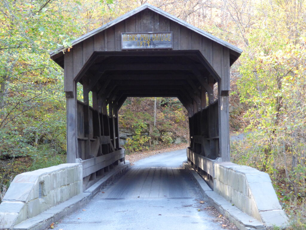 The Herns Mill Covered Bridge in Lewisburg.