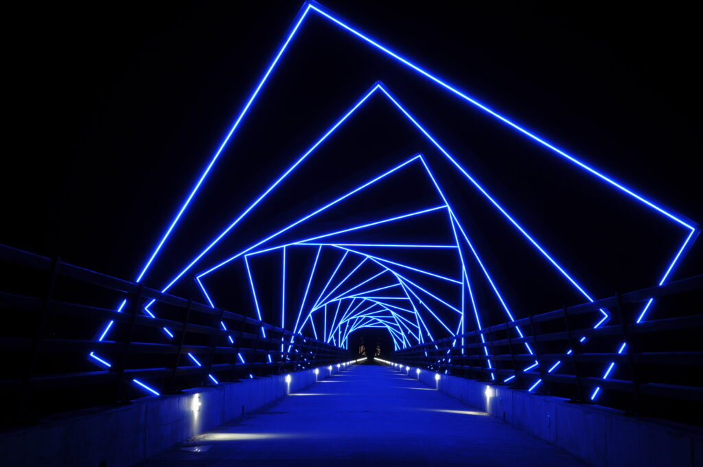 The High Trestle Trail at night time.