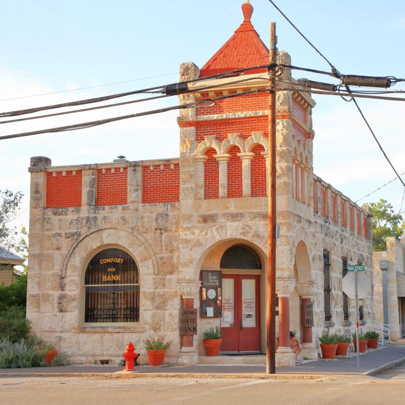 The historic Comfort Bank building in Comfort, Texas.