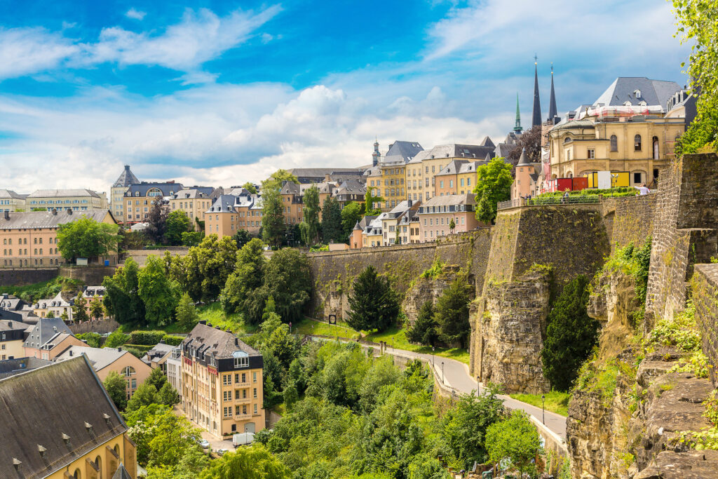 The historic fortifications and walls of Luxembourg's capital.
