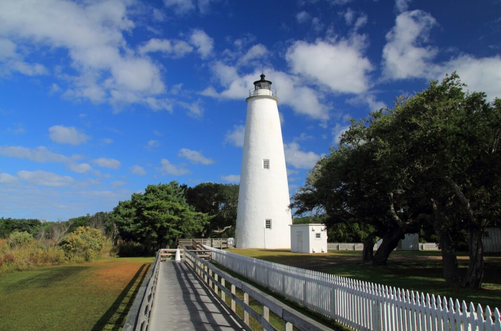 The historic Ocracoke Light on Ocracoke Island.