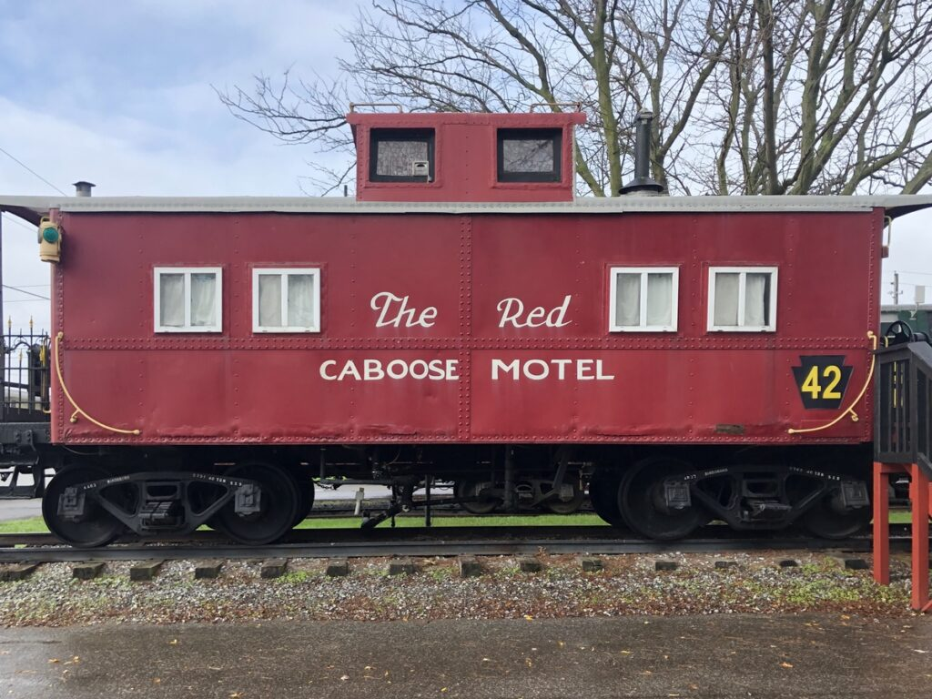 The historic red caboose at the motel.