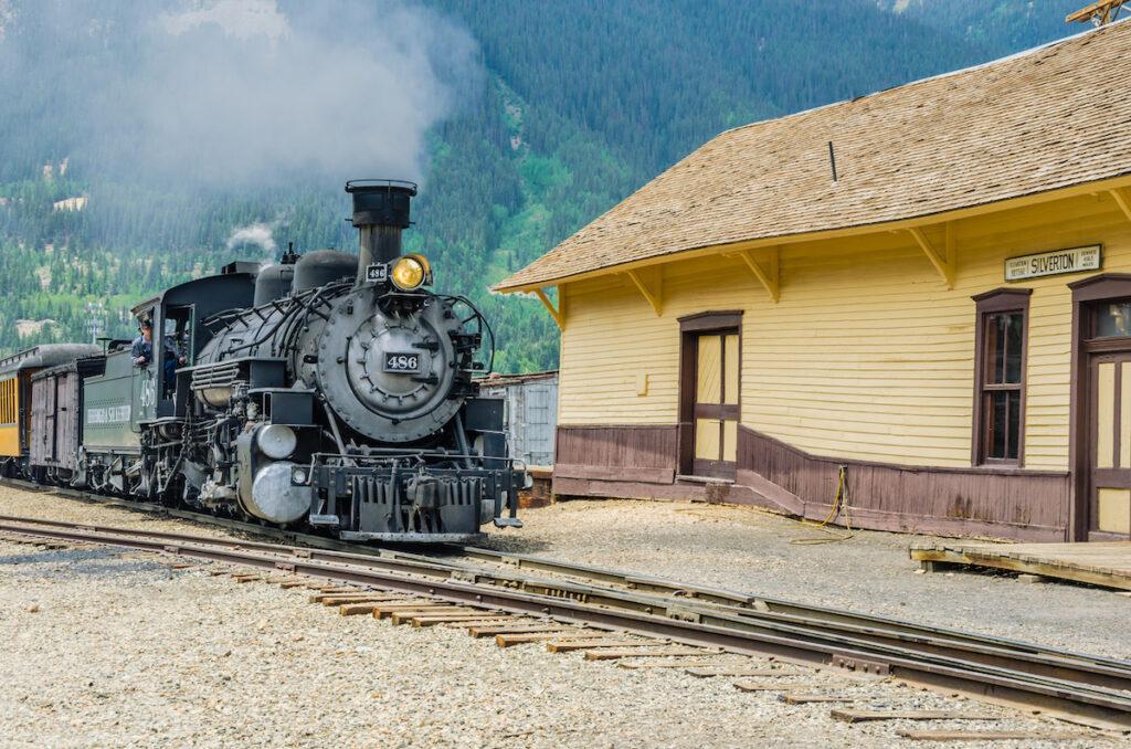 The historic train station in Silverton, Colorado.