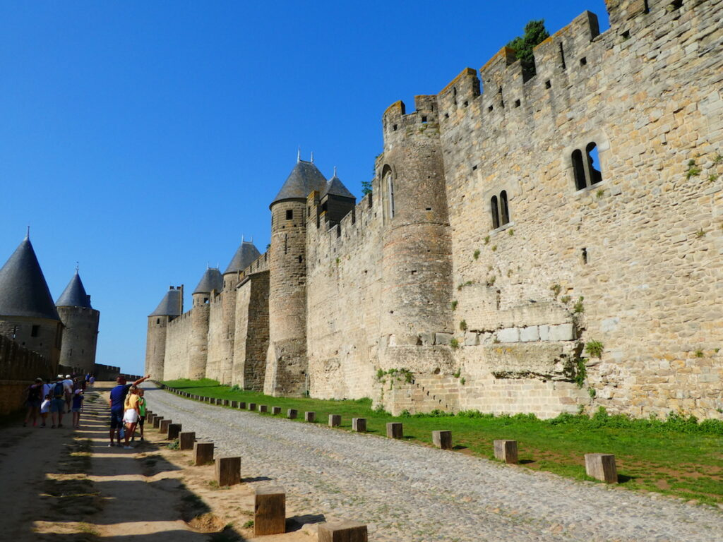 The historic walls of Carcassonne.