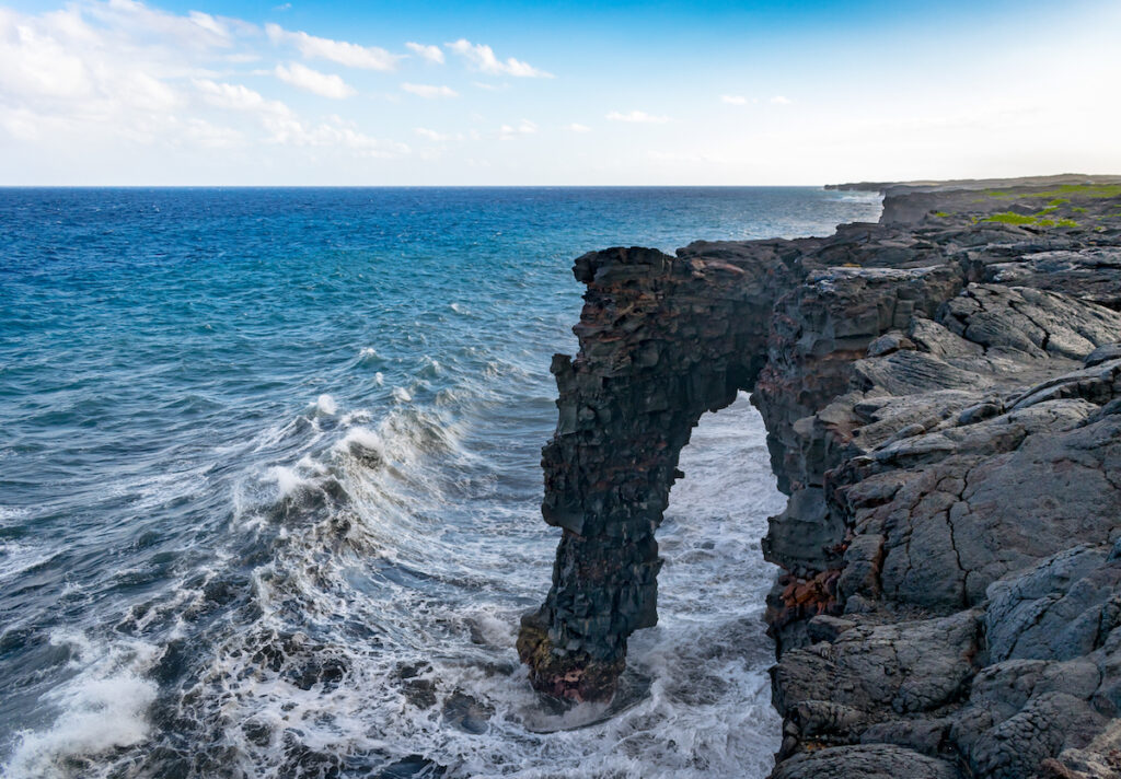 The Holei Sea Arch in Volcanoes National Park.