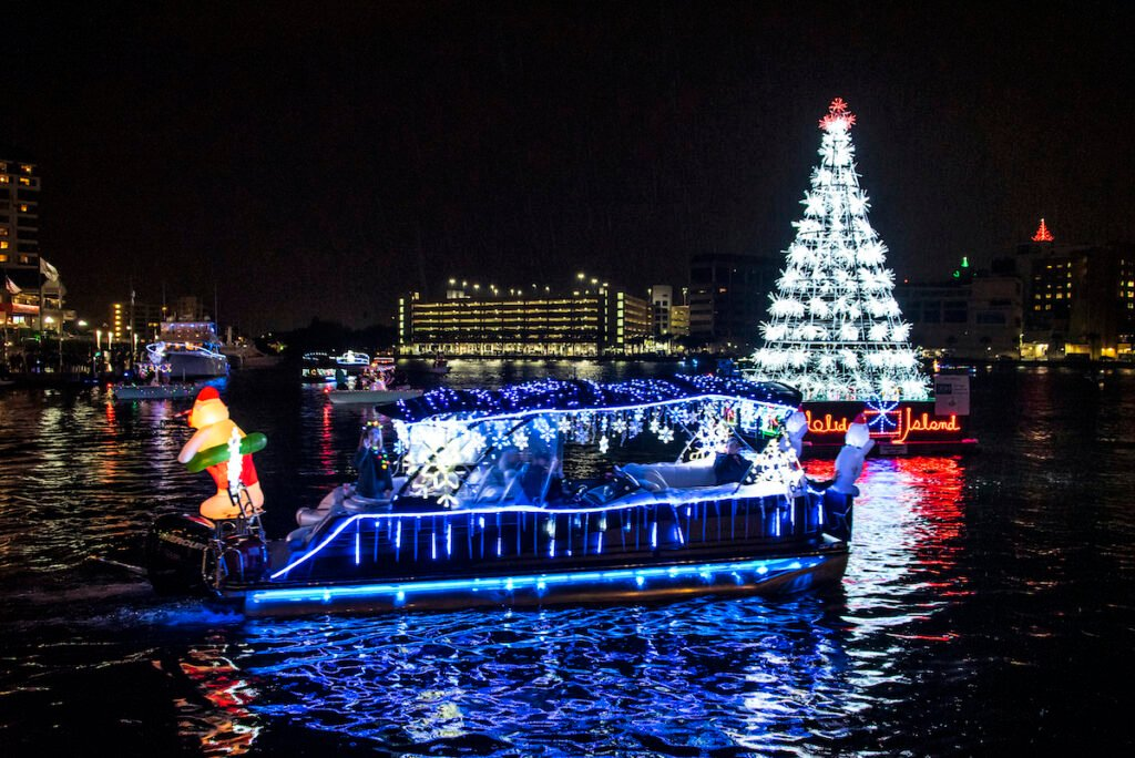 The Holiday Lighted Boat Parade in Tampa, Florida.