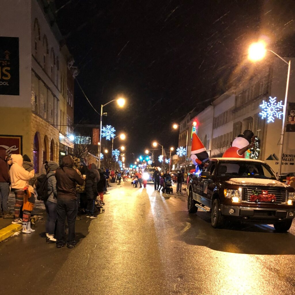 The Holly Jolly Christmas Parade in Elkins, West Virginia.