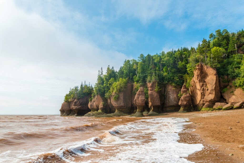 The Hopewell Rocks along Canada's Bay of Fundy.