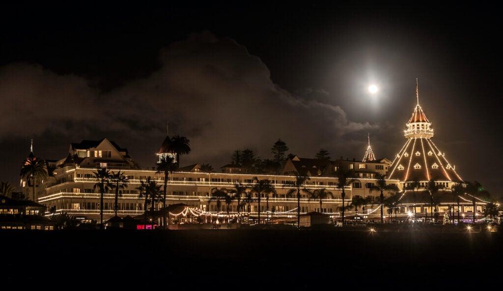 The Hotel del Coronado in California decorated for the holidays.
