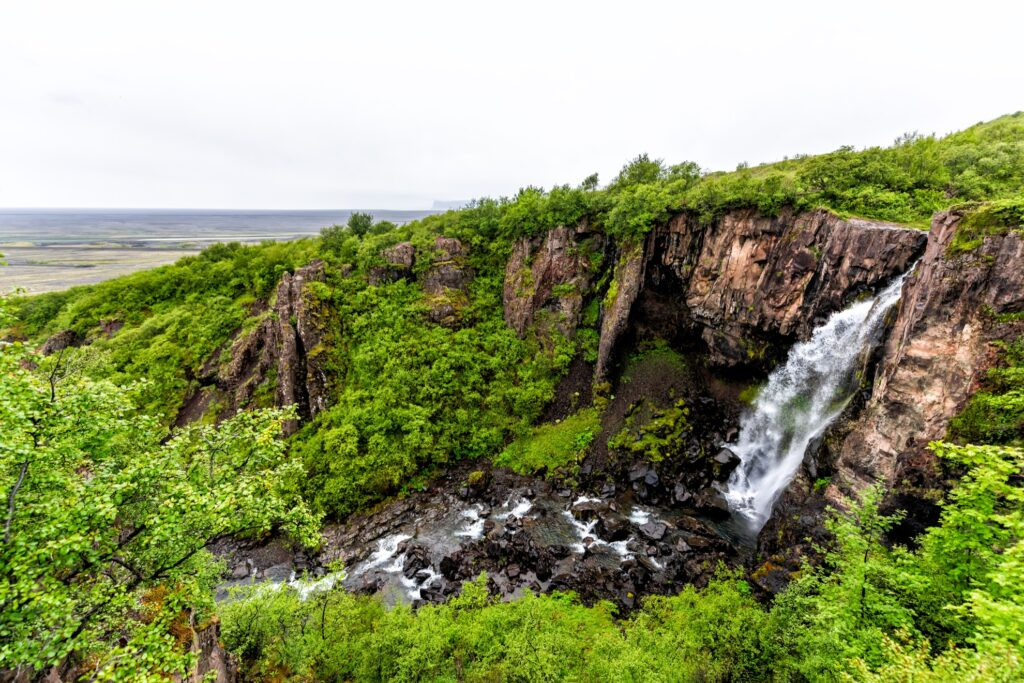 The Hundafoss waterfall in Iceland.