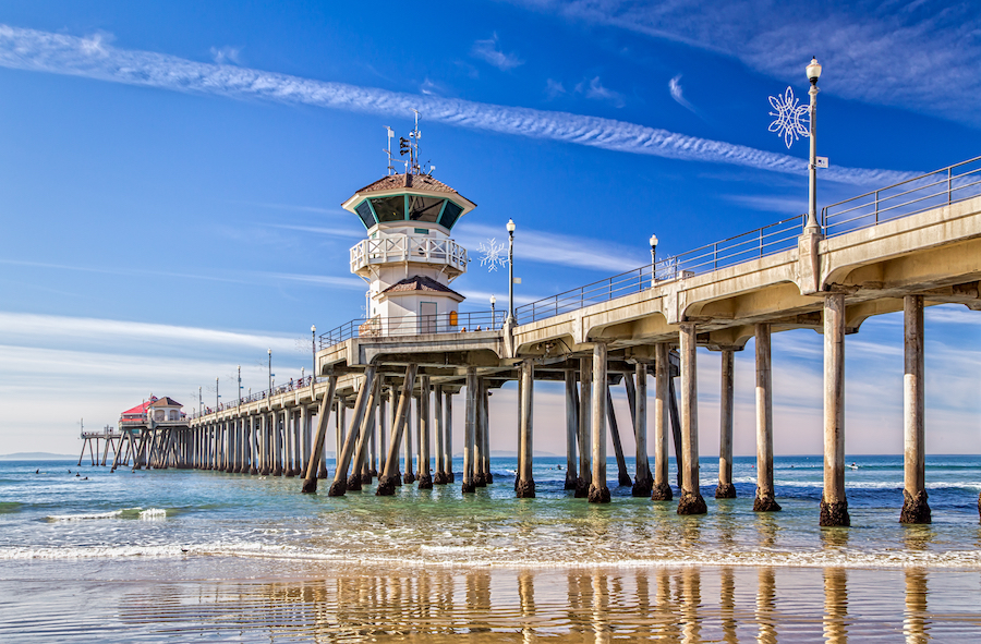 The Huntington Beach Pier in California.