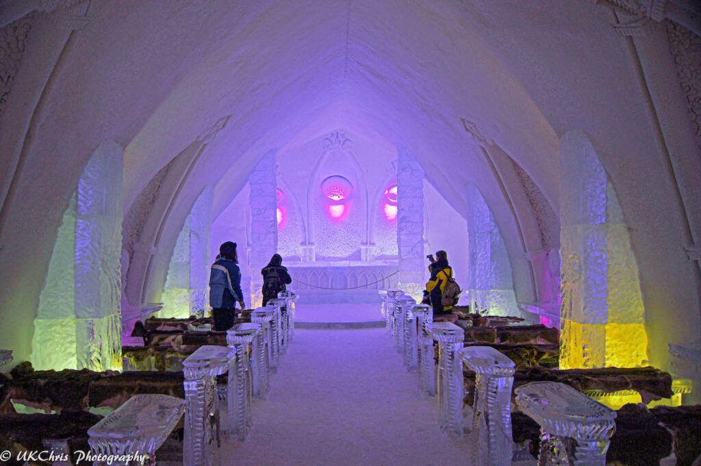 The ice chapel at the Hotel de Glace.