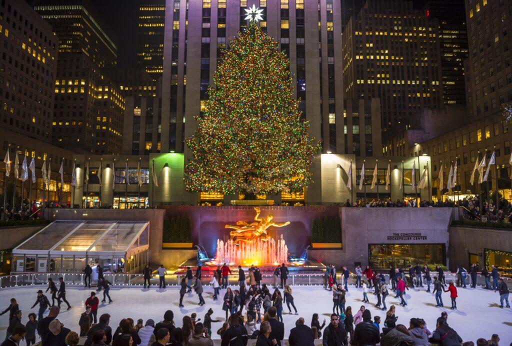 The ice skating rink in Rockefeller Center.