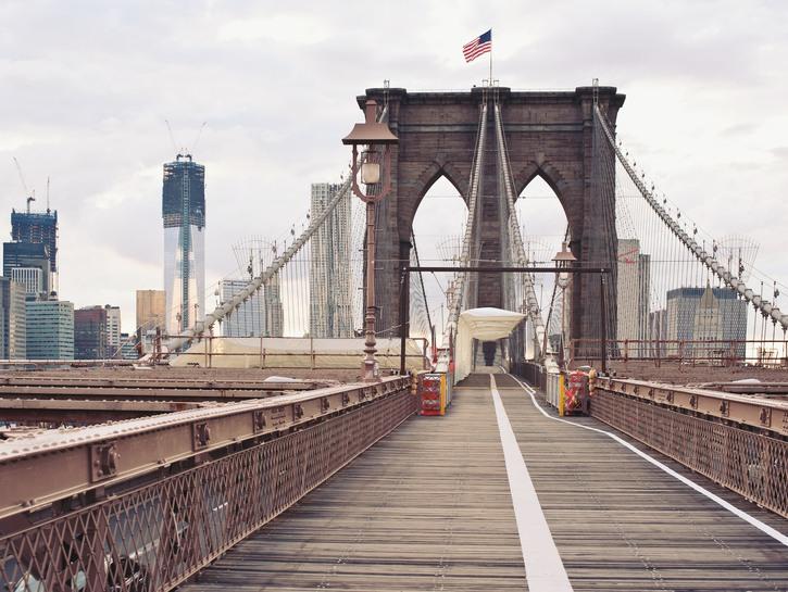 The iconic Brooklyn Bridge.