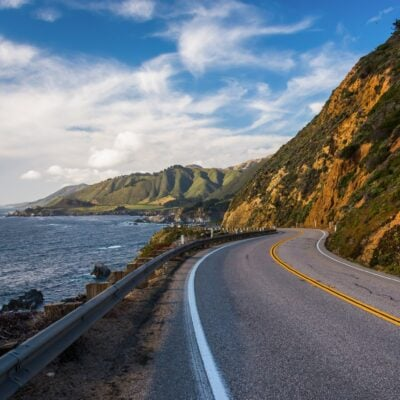 The iconic California State Route 1 along the Pacific Coast.