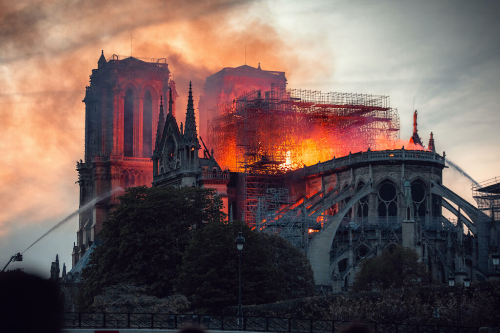 The iconic cathedral on fire.