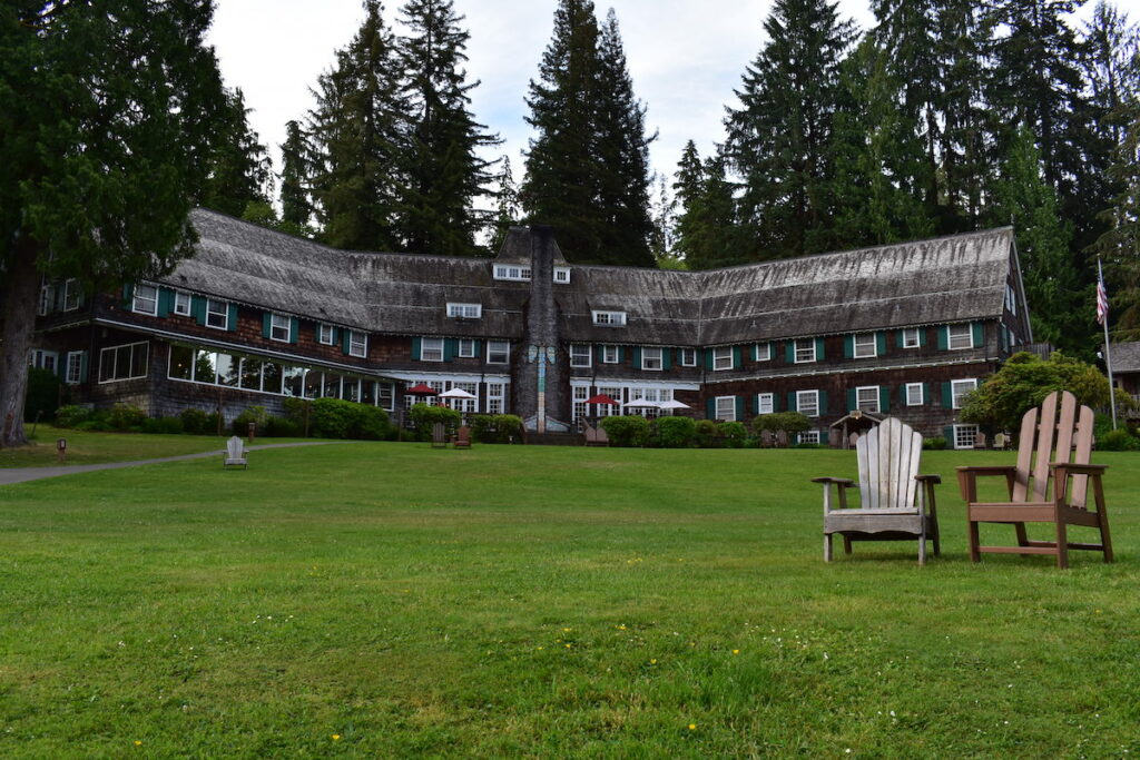 The iconic Lake Quinault Lodge.