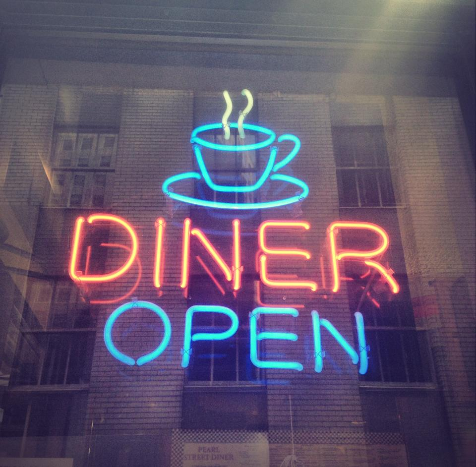 The iconic neon sign at Pearl Diner.