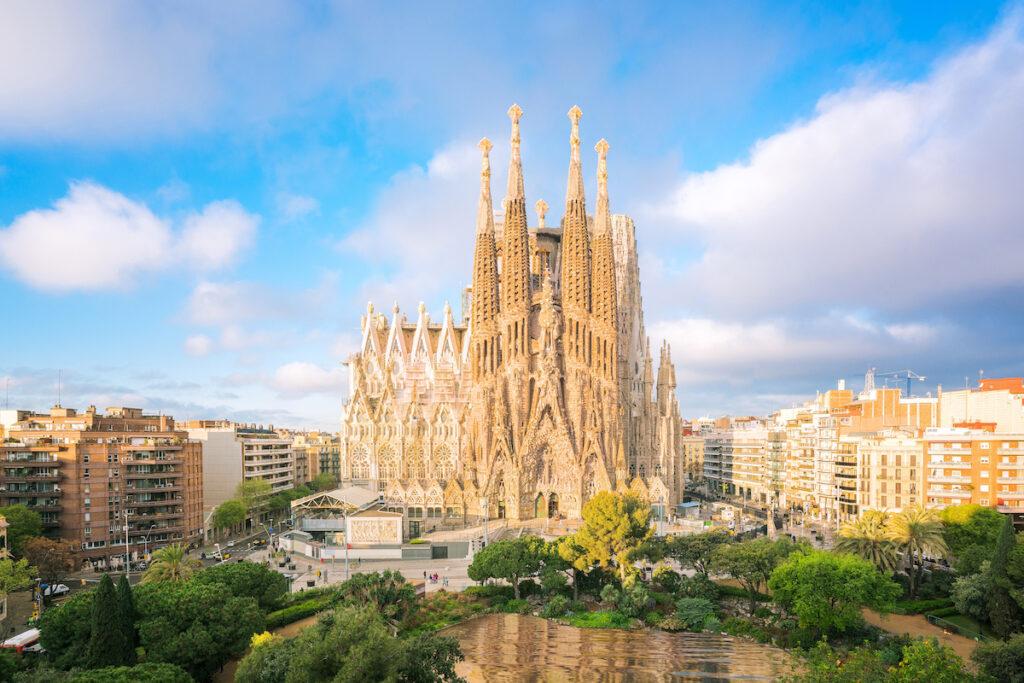 The iconic Sagrada Familia in Barcelona, Spain, during April.