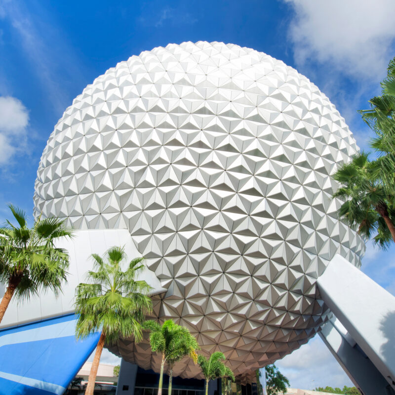 The iconic Spaceship Earth at Disney's EPCOT in Orlando.