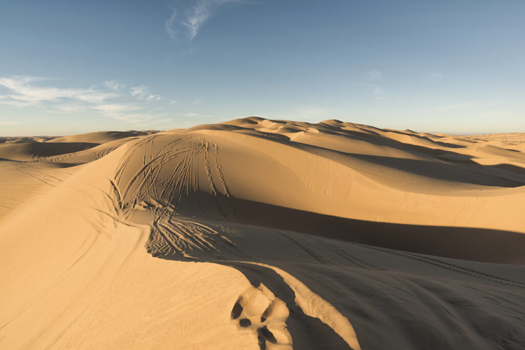 The Imperial Sand Dunes in California.