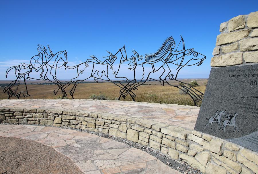 The Indian Memorial at Little Bighorn Battlefield.