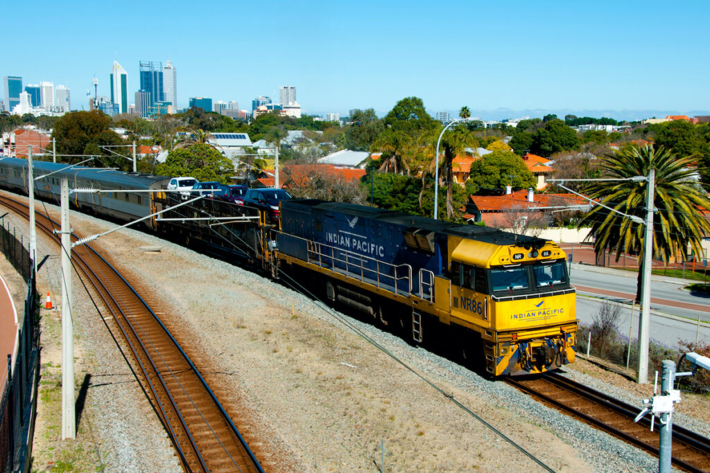 The Indian Pacific leaving Perth, Australia.