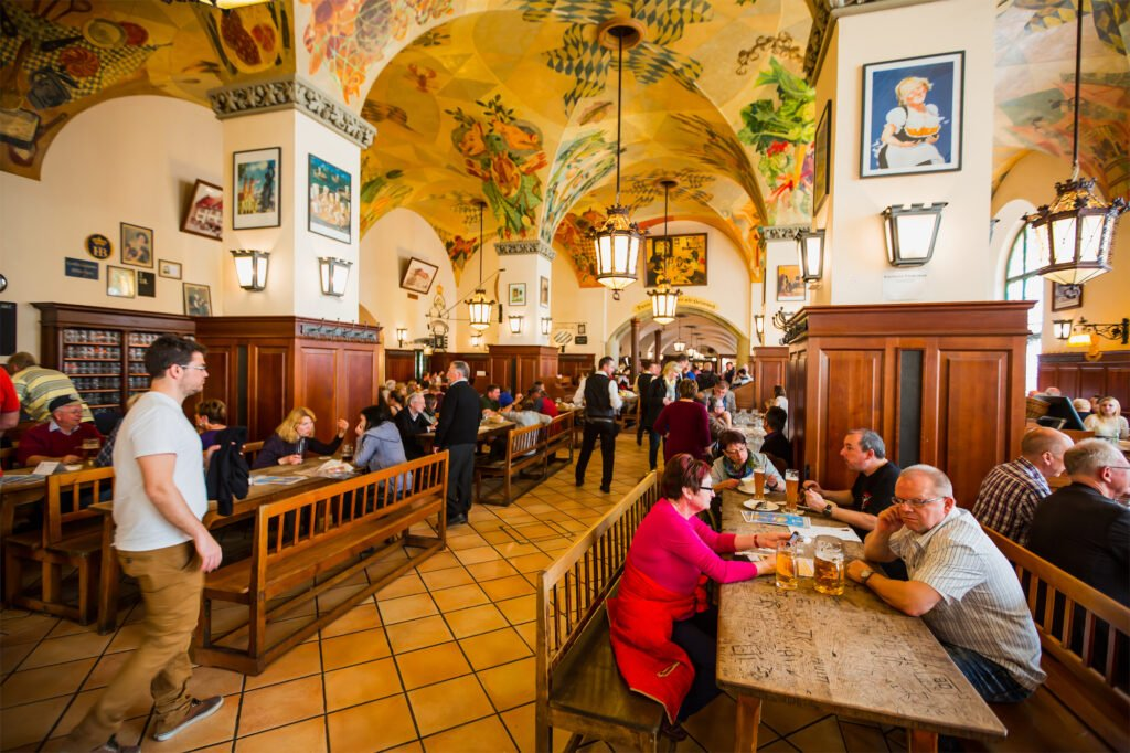 The inside of Hofbraeuhaus in Munich, Germany
