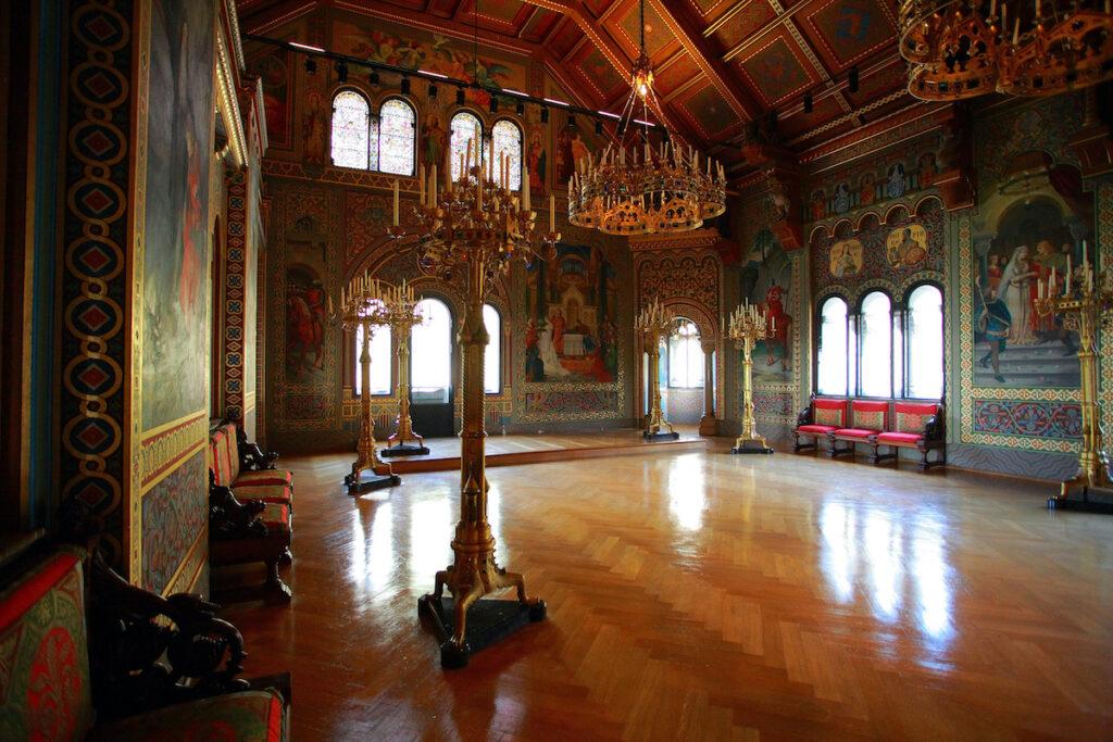 The interior of Neuschwanstein Castle in Bavaria, Germany.