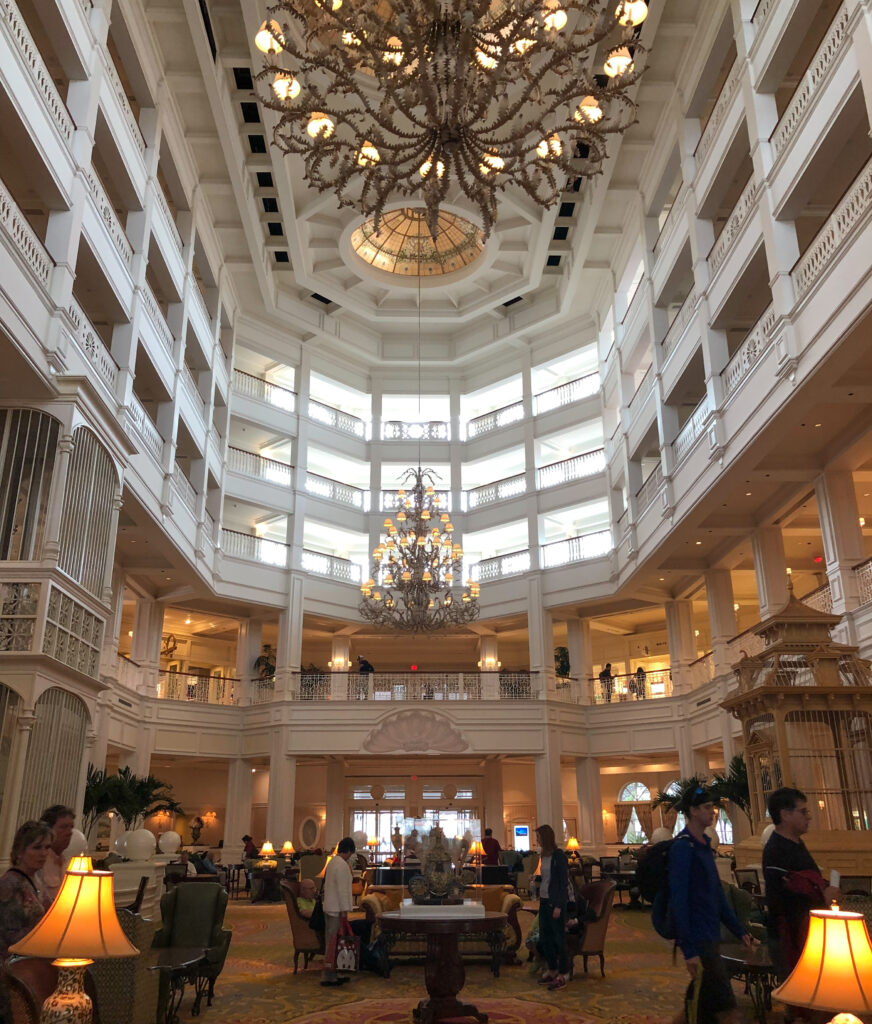 The interior of the Grand Floridian Resort.