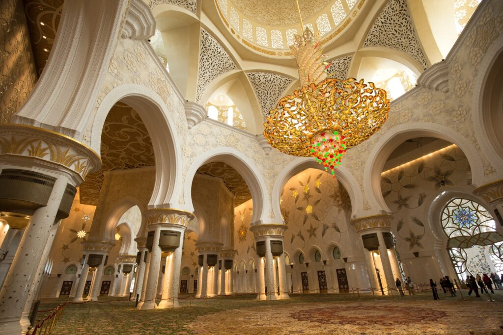 The interior of the Sheikh Zayed Grand Mosque.