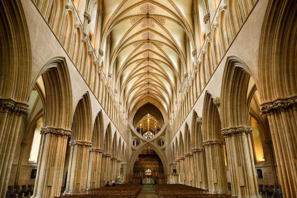 The interior of the Wells Cathedral.